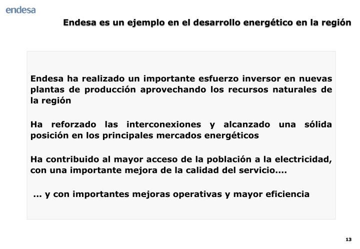 Endesa es un ejemplo en el desarrollo energético en la región