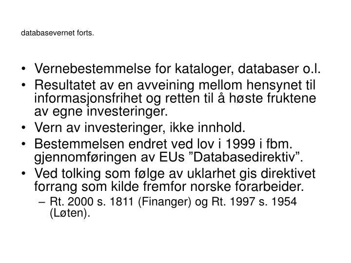 databasevernet forts.