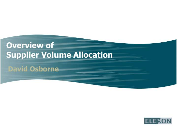 overview of supplier volume allocation n.