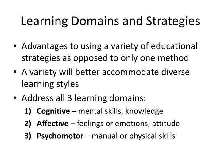 Learning Domains and Strategies