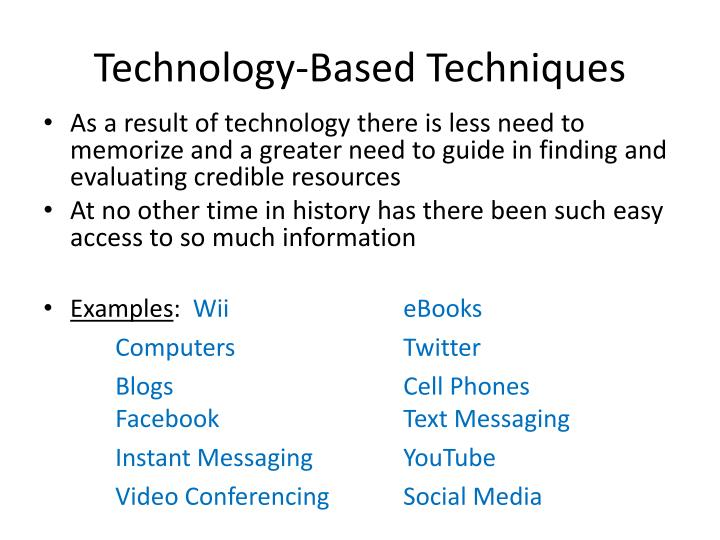 Technology-Based Techniques