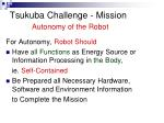 tsukuba challenge mission autonomy of the robot