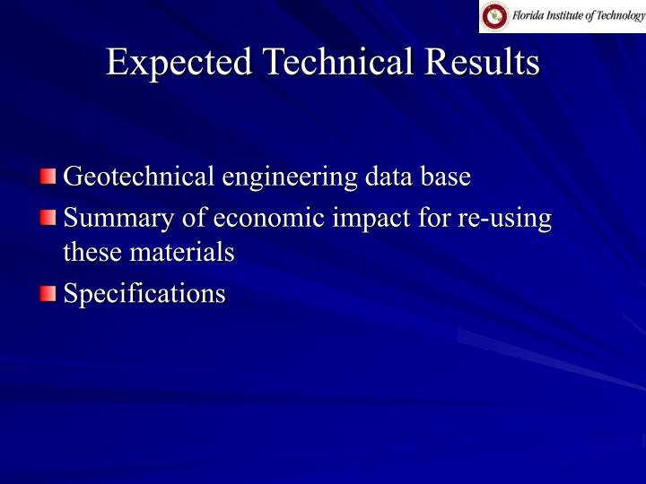 Expected Technical Results