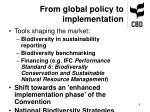 from global policy to implementation