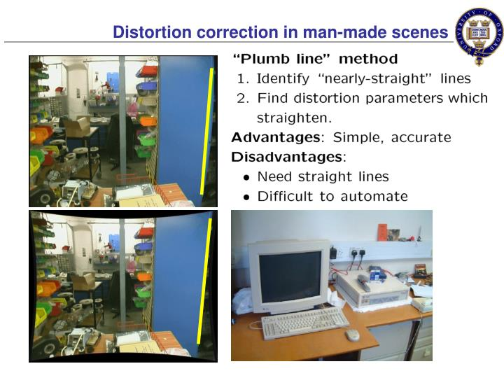 Distortion correction in man-made scenes