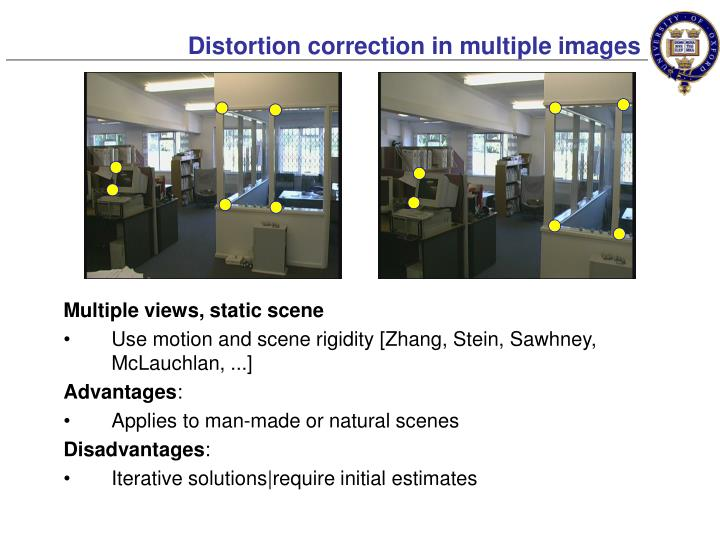 Distortion correction in multiple images