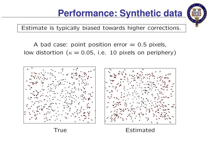 Performance: Synthetic data