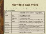allowable data types1
