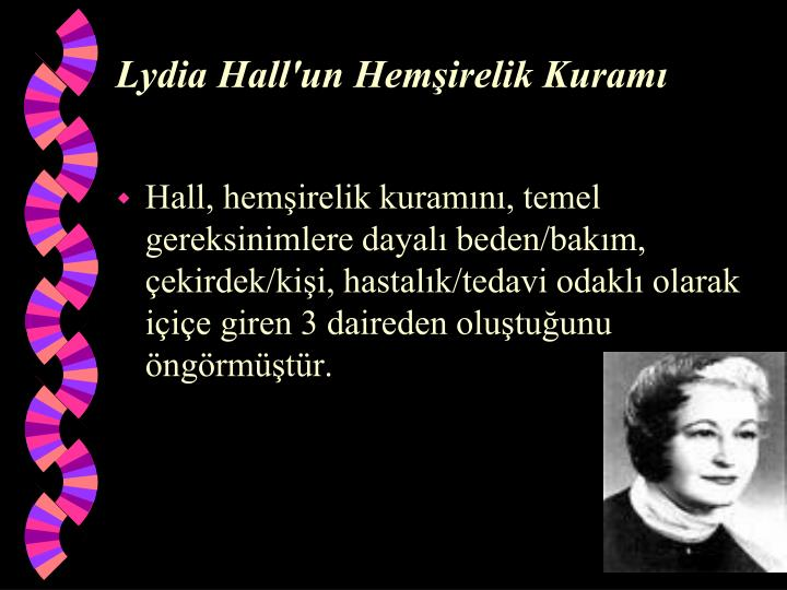 lydia hall theory Early years lydia elizabeth hall was born in eramosa township, upper canada in 1864 she was the second of the three daughters of joseph hall and ann duggan, a.