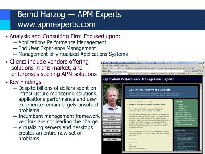 Bernd harzog apm experts www apmexperts com