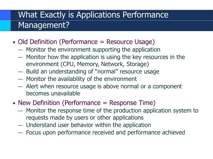 What exactly is applications performance management