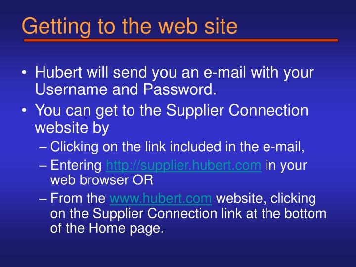 Getting to the web site