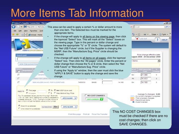 More Items Tab Information