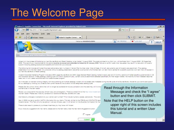 The Welcome Page