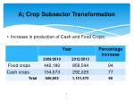a crop subsector transformation
