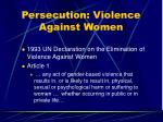 persecution violence against women
