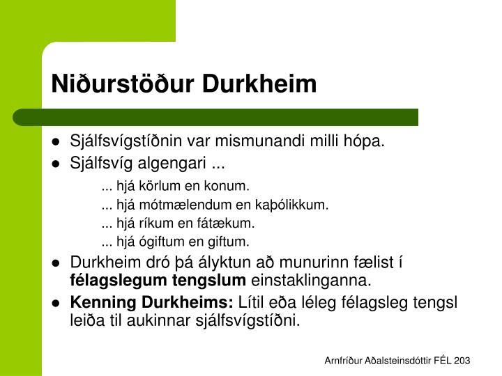 Niðurstöður Durkheim