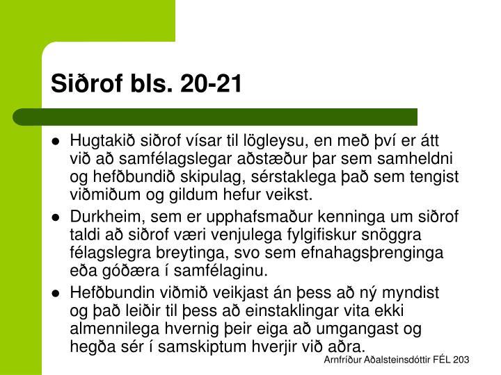Siðrof bls. 20-21