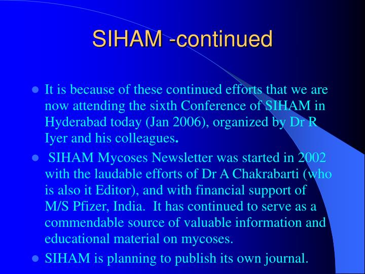 SIHAM -continued