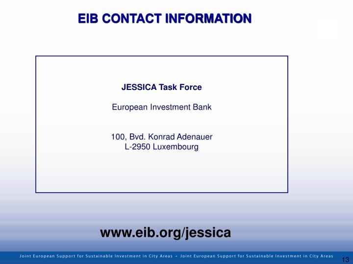 EIB CONTACT INFORMATION