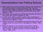 generalizations from political science
