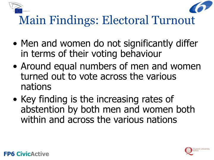 Main findings electoral turnout
