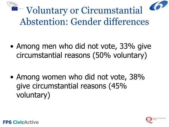 Voluntary or Circumstantial Abstention: Gender differences