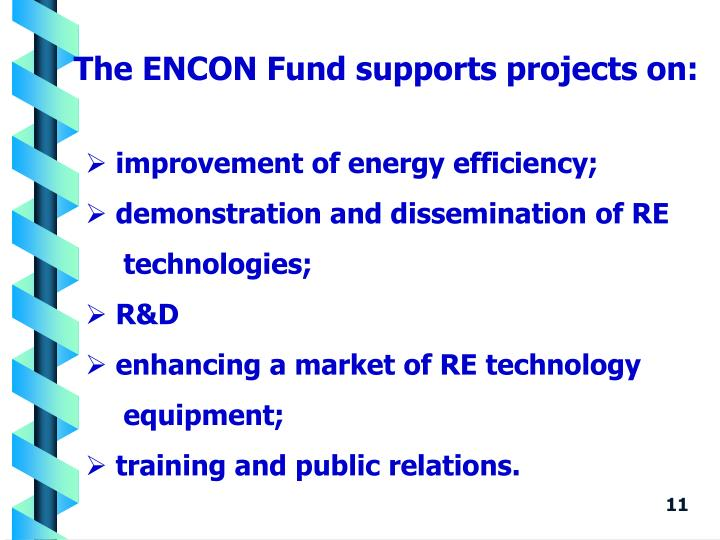 The ENCON Fund supports projects on: