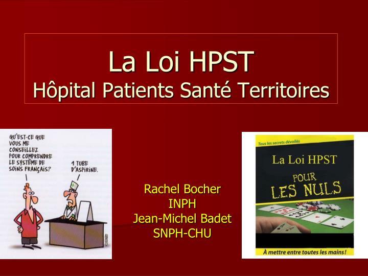 La loi hpst h pital patients sant territoires