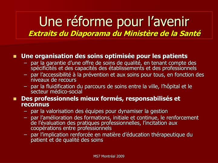 Une réforme pour l'avenir