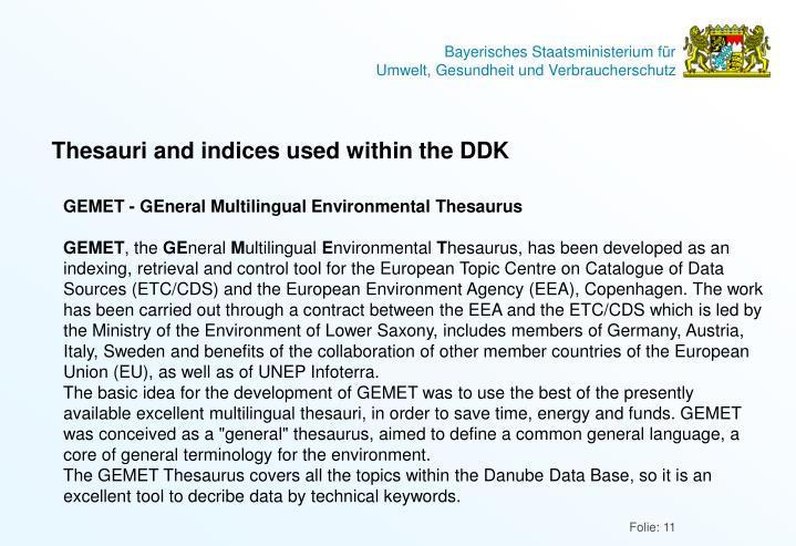 Thesauri and indices used within the DDK
