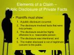 elements of a claim public disclosure of private facts