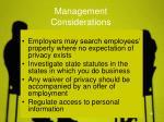 management considerations