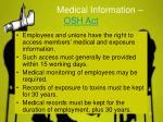 medical information osh act