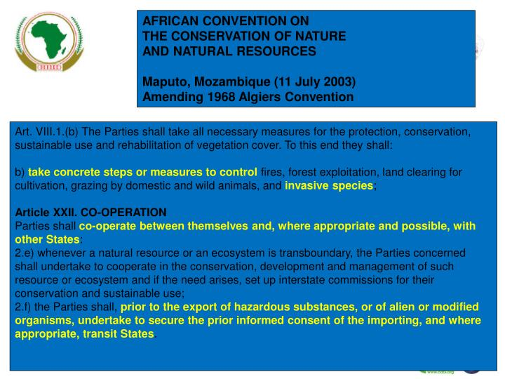 AFRICAN CONVENTION ON