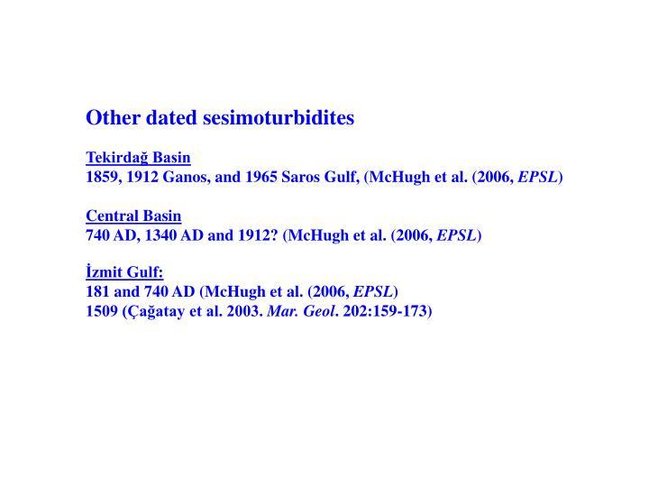 Other dated sesimoturbidites