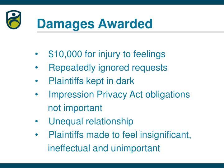 Damages Awarded