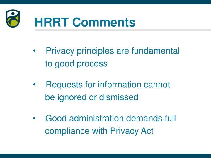 HRRT Comments