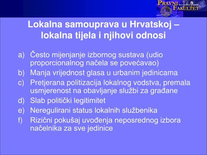 Lokalna samouprava u Hrvatskoj – lokalna tijela i njihovi odnosi