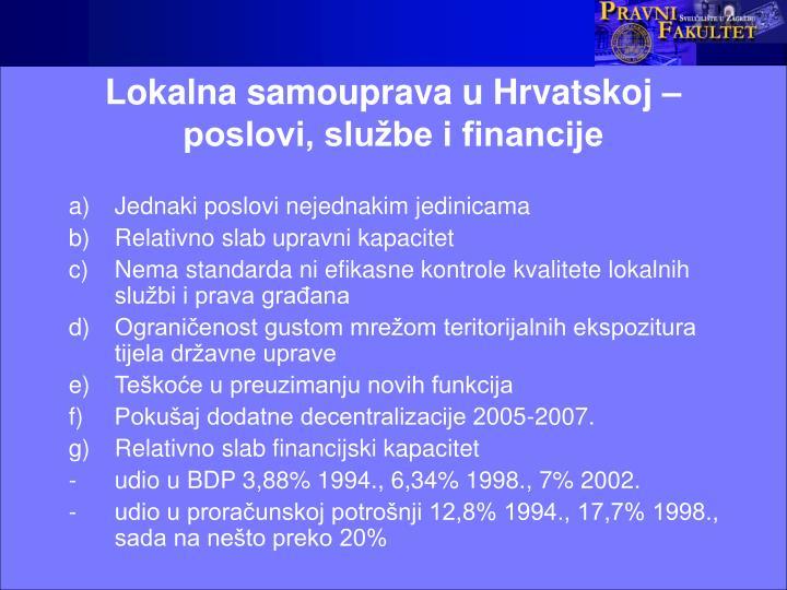 Lokalna samouprava u Hrvatskoj – poslovi, službe i financije