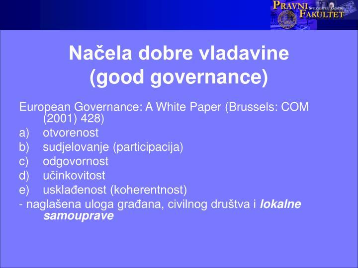 Načela dobre vladavine           (good governance)