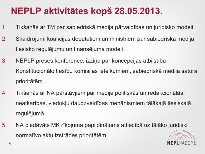 NEPLP aktivitātes kopš 28.05.2013.