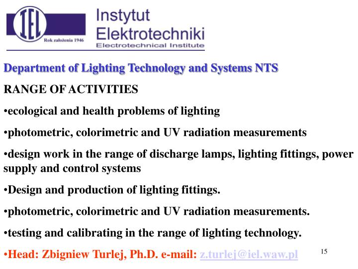 Department of Lighting Technology and Systems N