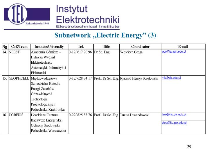 "Subnetwork ""Electric Energy"""
