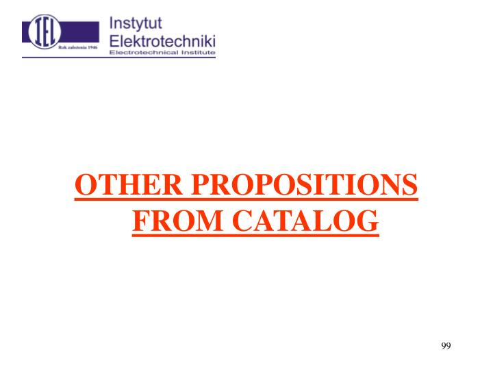 OTHER PROPOSITIONS FROM CATALOG