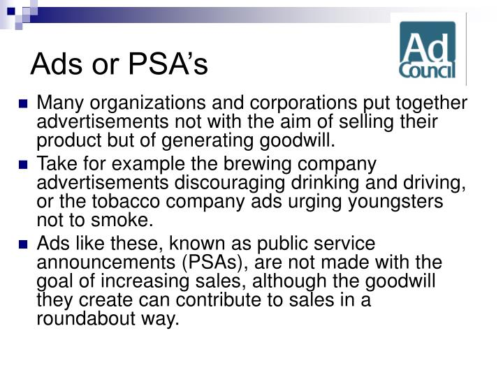 Ads or PSA's