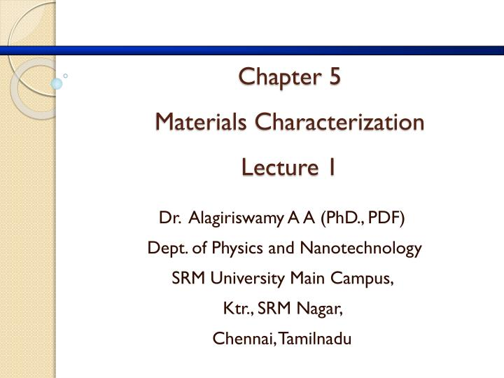 chapter 5 materials characterization lecture 1 n.