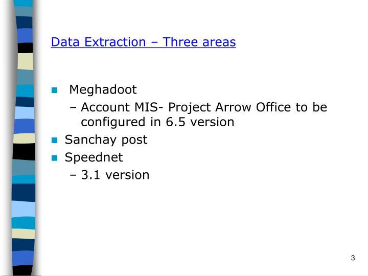 Data extraction three areas