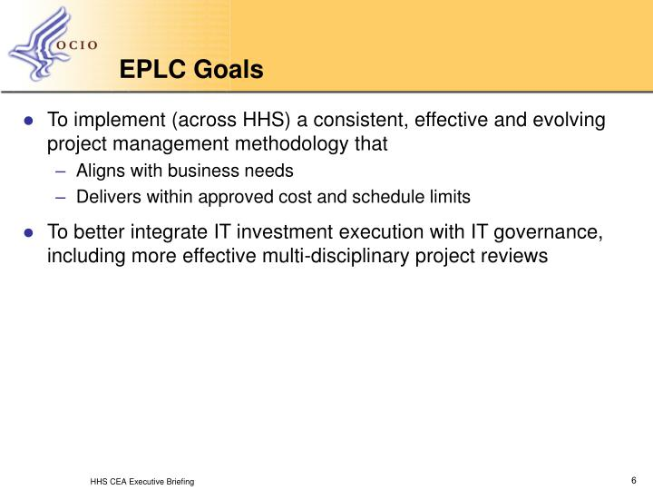 Ppt Hhs Enterprise Performance Life Cycle Eplc And Program