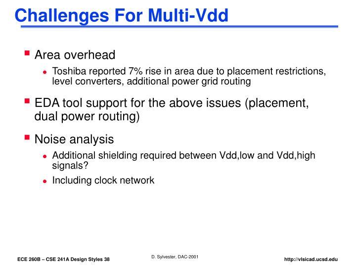 Challenges For Multi-Vdd